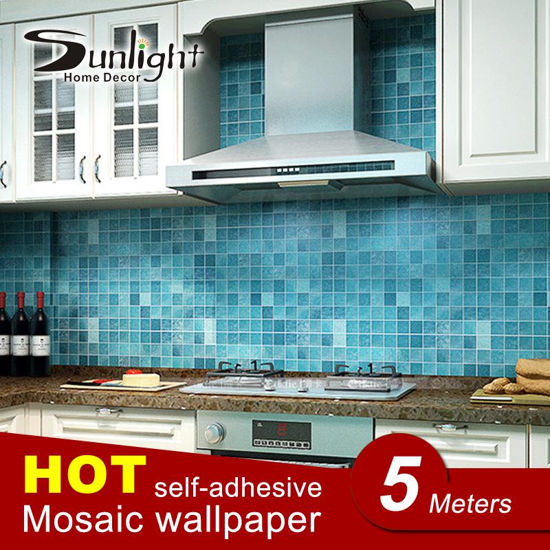Pvc mosaico wall sticker bagno impermeabile carta da parati autoadesiva da cucina adesivi per piastrelle per pareti di carta decorazione della casa 5 metro(China (Mainland))