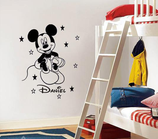 Hot Sale Mickey Mouse Personalized Name Vinyl Decal Kids Wall Sticker Home Decor For Children Room(China (Mainland))