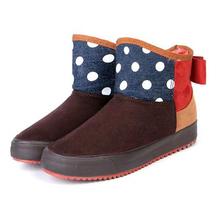 Nuevo Dulce Felpa Interior Mujeres Nieve Botas Zapato 2016 de Piel Caliente Zapatos de invierno Botas de Nieve de Las Mujeres del punto de Polca para Las Mujeres Cortas de Tobillo botas(China (Mainland))