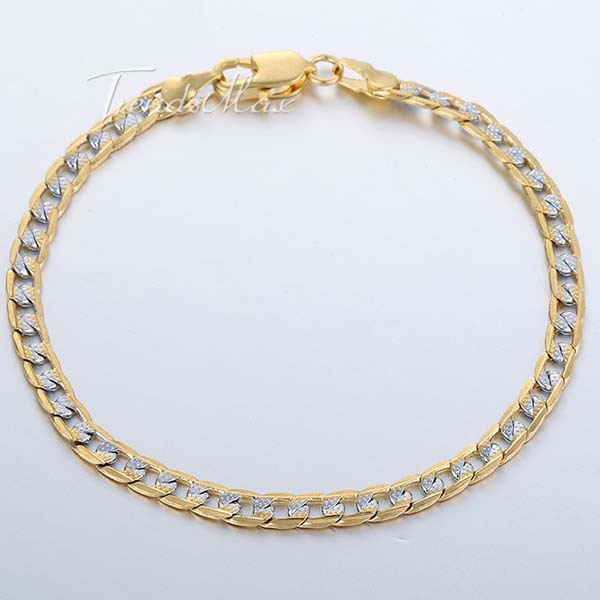 4mm 18K Silver Gold Filled Bracelet Curb Bracelet Wholesale Promotion Mens Womens Jewelry Gift 7 11inch