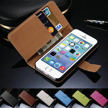 Flip Book Style Genuine Case For iPhone 4/4S/5/5S Luxury Flip Real Leather Phone Bag Case Full Protection Skin With Card Holder
