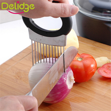 1 pcs Easy Cut Onion Holder Fork +Stainless Steel Soap Vegetable Slicer Tomato Cutter Metal Meat Needle Gadgets Multifunction