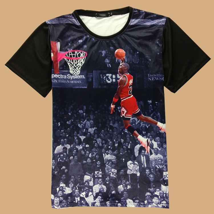 2015 new arrival t shirt 3d Michael Jordan classic shoot a basketball Lore graphic t shirt mens casual crewneck tee shirt(China (Mainland))