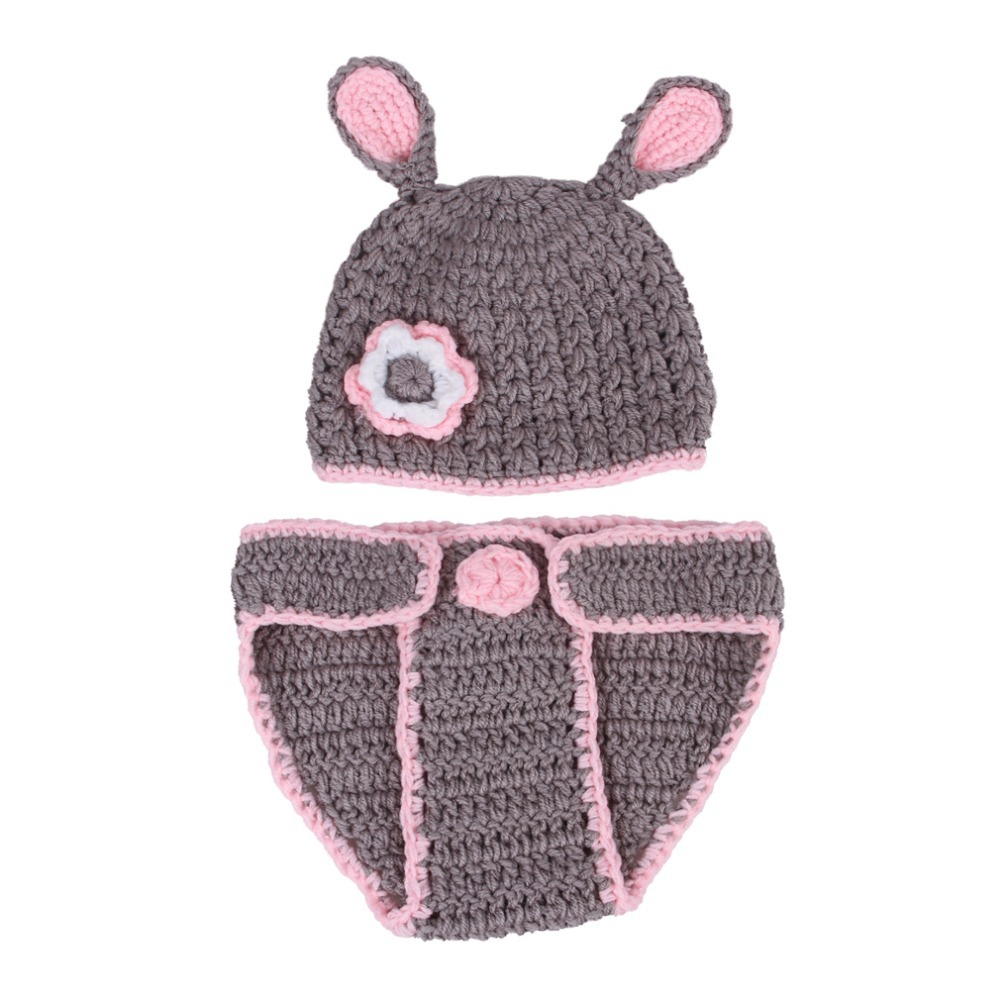 3-12 Month Cute Baby Rabbit Hat Pants Handmade Crochet Newborn Photography Props Cap Headwear EJY3 - ShangHai Aokeshen co., LTD store