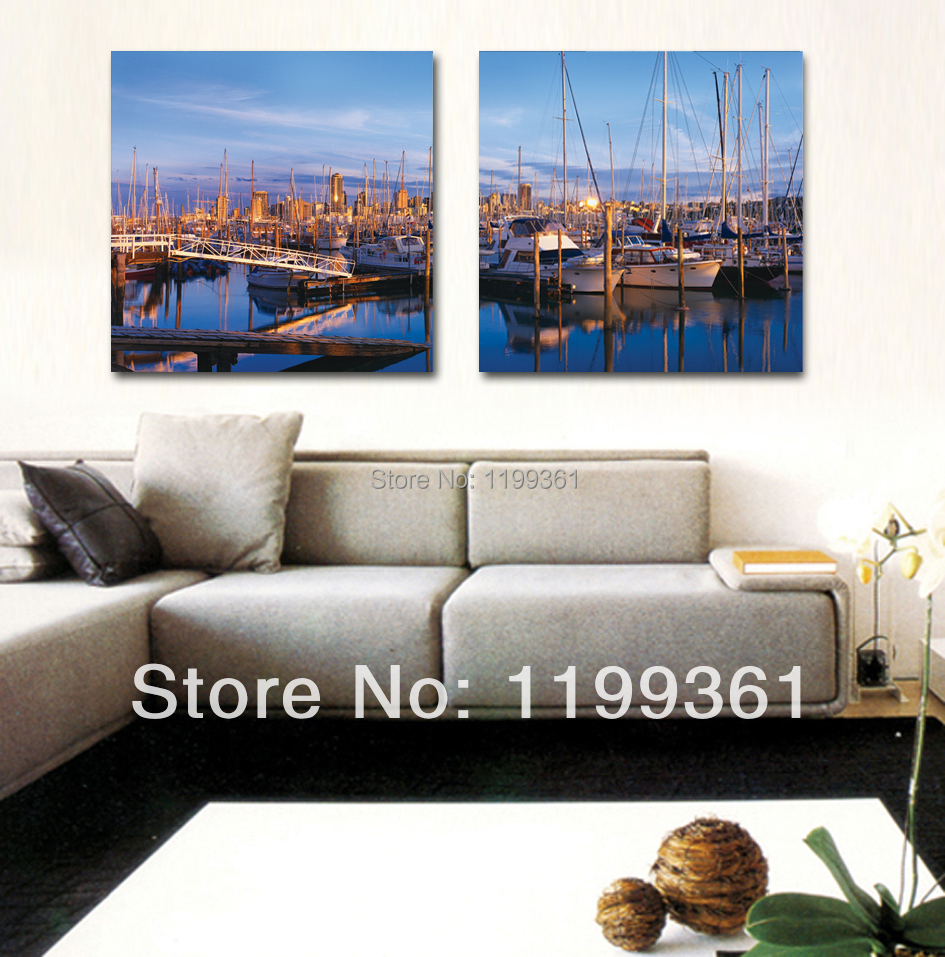 2 piece free shipping modern wall painting harbour large for Piece of living room decor