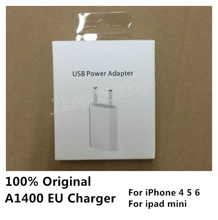 10 Set/lot Original 5W 5V/1A A1400 EU Plug USB Wall AC Power Charger For ipad mini For iphone 6 5S 5C 5 4 4S With Retail Box