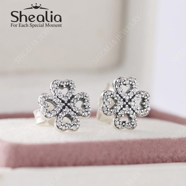 Новые стерлингового серебра 925 вымощают CZ четыре листа клевера серьги для женщин с ааа кубический цирконий девушка день святого валентина подарок