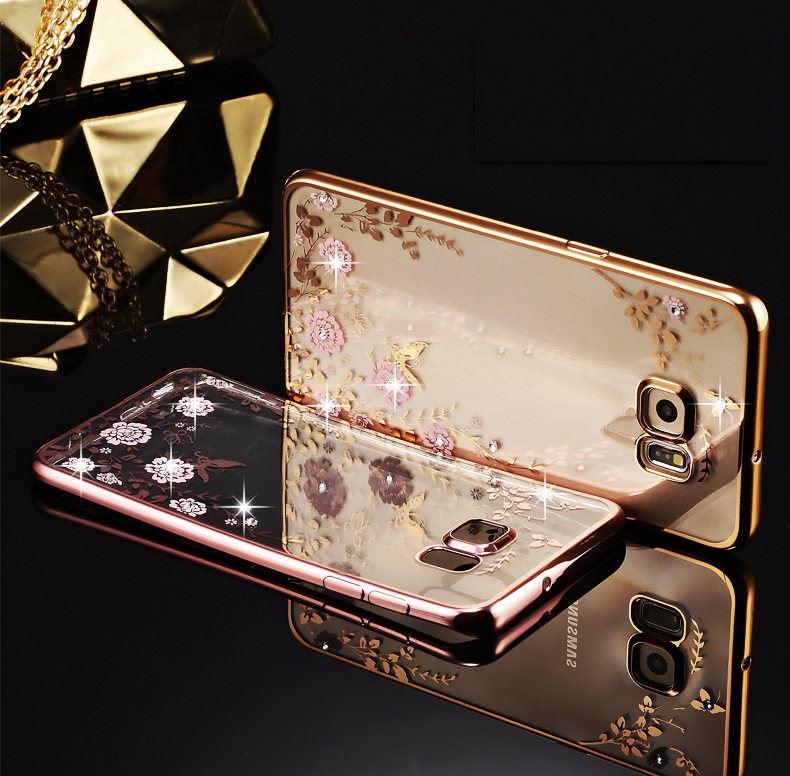 Flora Diamond Case Samsung Galaxy A5 A7 2016 J5 J7 S5 S6 S7 Edge Chic Flower Bling Soft TPU Clear Phone Back Cover - Southern Tech store