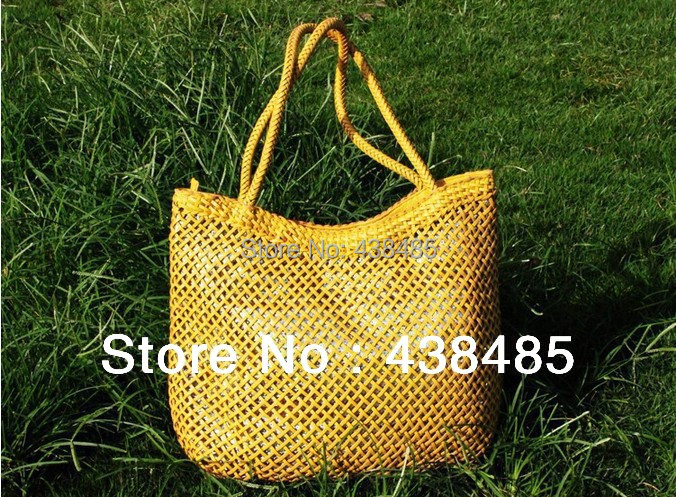 2014 Summer Hand Weaving Bag Sequined Designer Famous Brand Women Leather Handbag Large Ladies Tote One Shoulder Beach - China Best Genuine Supplier store