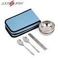 6 Set Camping Double Portable Stainless Steel Lunchbox Thermal Insulation Bento Chopsticks Spoon Bowl Tableware High