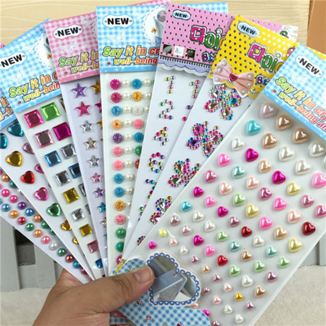 Many Styles Mixed Color Acrylic Rhinestone Crystal Decoration Stickers 3D Baby Kids boys girls DIY Cute Children toys Stickers