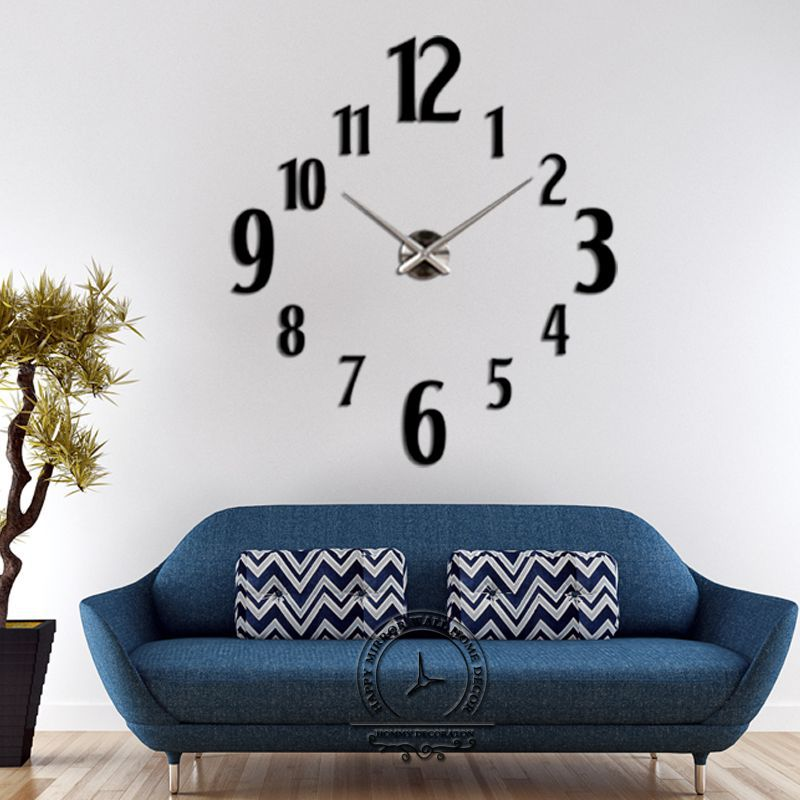 promotion 2015 new home decor large roman mirror fashion modern Quartz clocks living room diy wall clock watch - DIY Home Decorations-Factory store