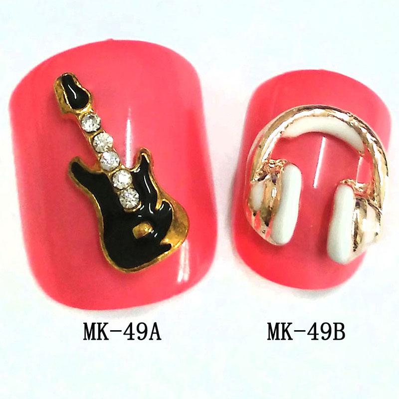 12015 new nails art fashion gold 3d nail jewelry gitar headset style - Lemon Green store