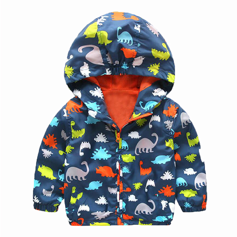 90-120cm Cute Dinosaur Spring Kids Jacket Boys Outerwear Coats Active Boy Windbreaker Cartoon Sport Suit For Children Kids(China (Mainland))
