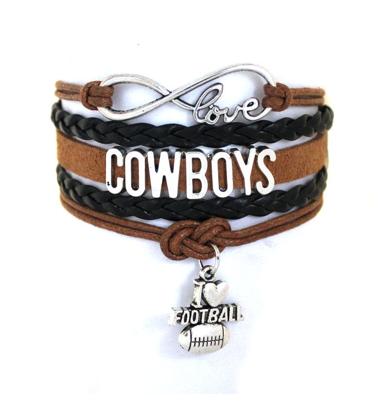 Infinity Love Dallas Cowboys Football Team Bracelet Navy Silver Custom Any Styles Bracelets Drop Shipping(China (Mainland))