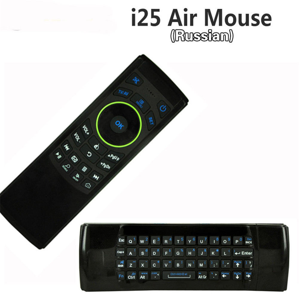 English 2.4GHz Wireless Keyboard Fly Air Mouse IR Remote Motion sensing game Combo i25 FM5 For Android mini PC Tablet(China (Mainland))