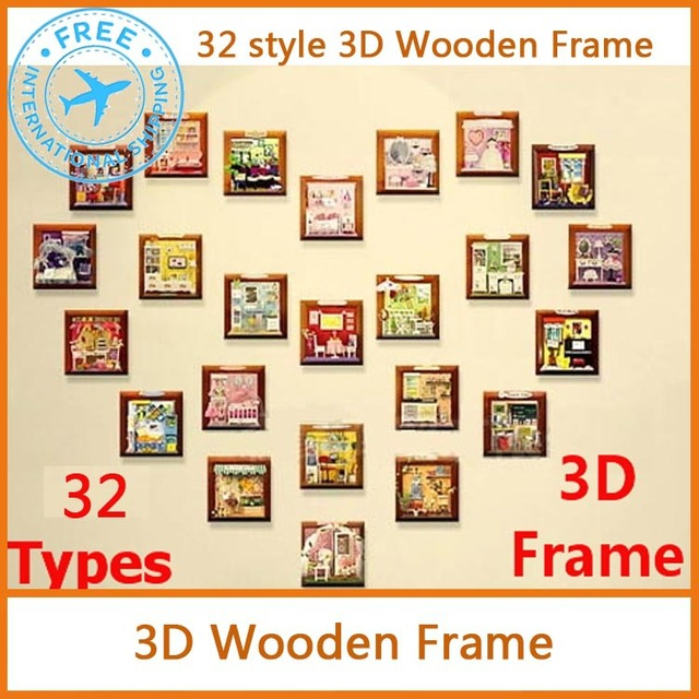 DIY 3D wooden Cartoon Frame 32 patterns for birthday gift grils home decorate Gift