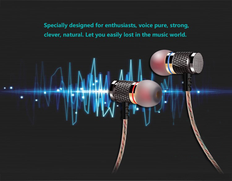 2016 Hot Super Bass Clear Voice Earphone Metal-Ear Earbud For Mobile Computer MP3 Universal 3.5MM Earpiece Amazing Sound