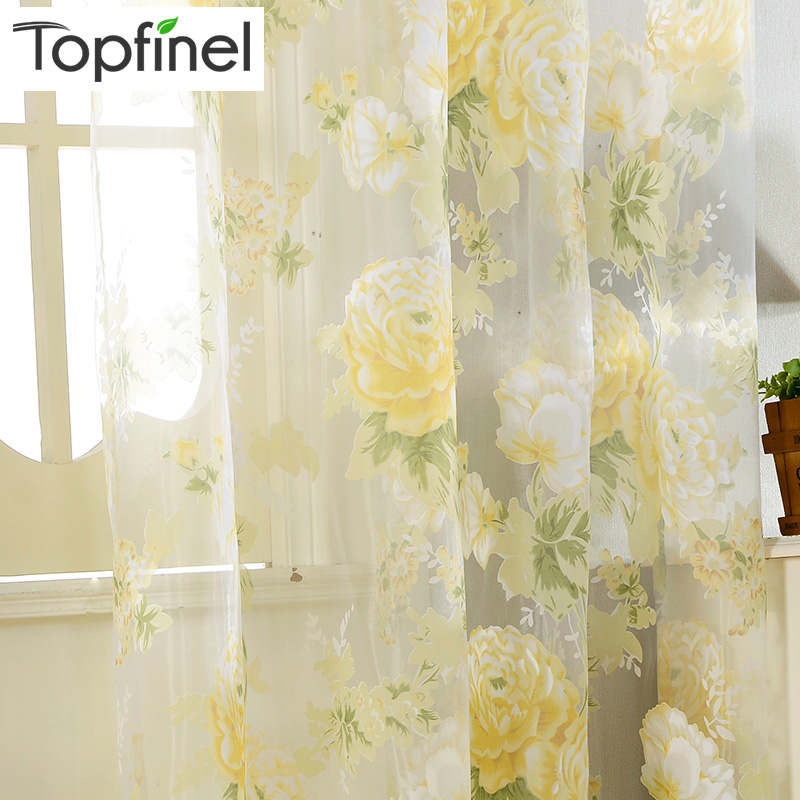 Buy Top Finel New Yellow Floral Print Tulle Curtains For Window Elegant Yarn