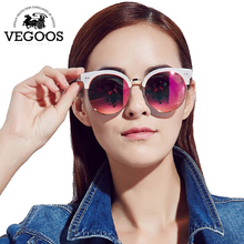 VEGOOS Luxury Brand Designer Polarized Sunglasses Women woman Vintage sun glasses Flash Mirror round frame New Collection #9067