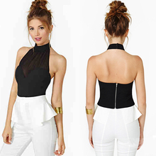 Women's Black Chiffon Wrapped Chest Halter Vest Stitching Backless Zipper Tops Drop Shipping Free Shipping(China (Mainland))