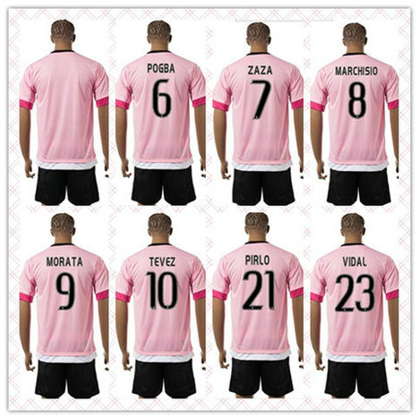 Best Quality Uniforms Kit POGBA MORATA TEVEZ White Strip 2015-2016 #17 Mandzukic Long Sleeve Soccer Jersey Pink Black Full Shirt(China (Mainland))