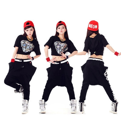 2015 Free Shipping Summer Style Hip Hop Women Dance Clothing Hip Hop Pants And Hiphop T-shirt(China (Mainland))