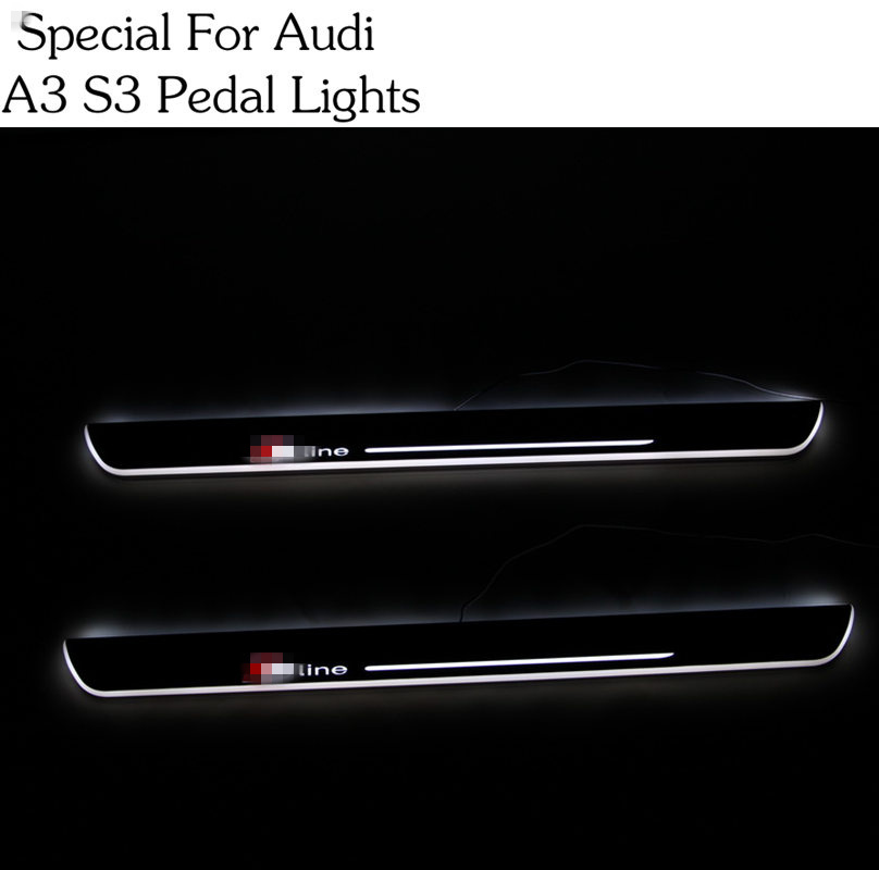 1 Pair for Audi A3 S3 Car Styling LED pedal light pathway light Moving Door Scuff Door Sill Plate Cover Side Step Led DRL lamp