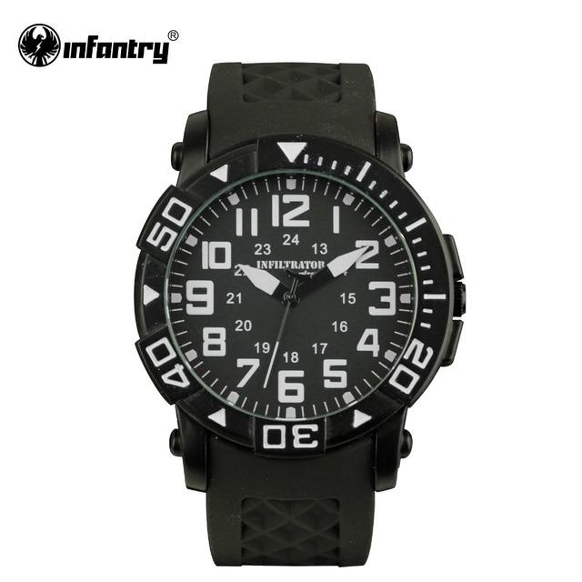 INFANTRY Mens Quartz-watch Original Brand Military Watches Black Silicone Male Sport Watches 2016 Relogio Masculino Black