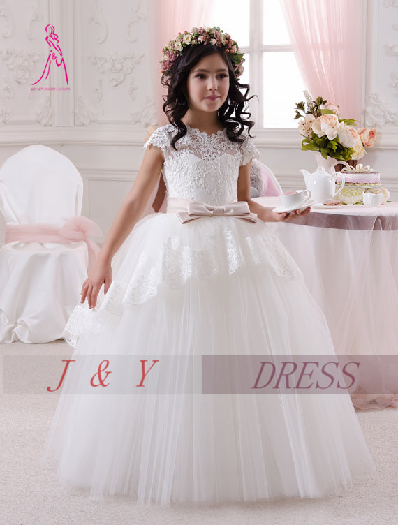 JY 2016 New Arrival Short Sleeve Long Flower Girl Dress With Sashes Tulle Ball Gown Lace Beaded Little Girls Dress for Wedding(China (Mainland))