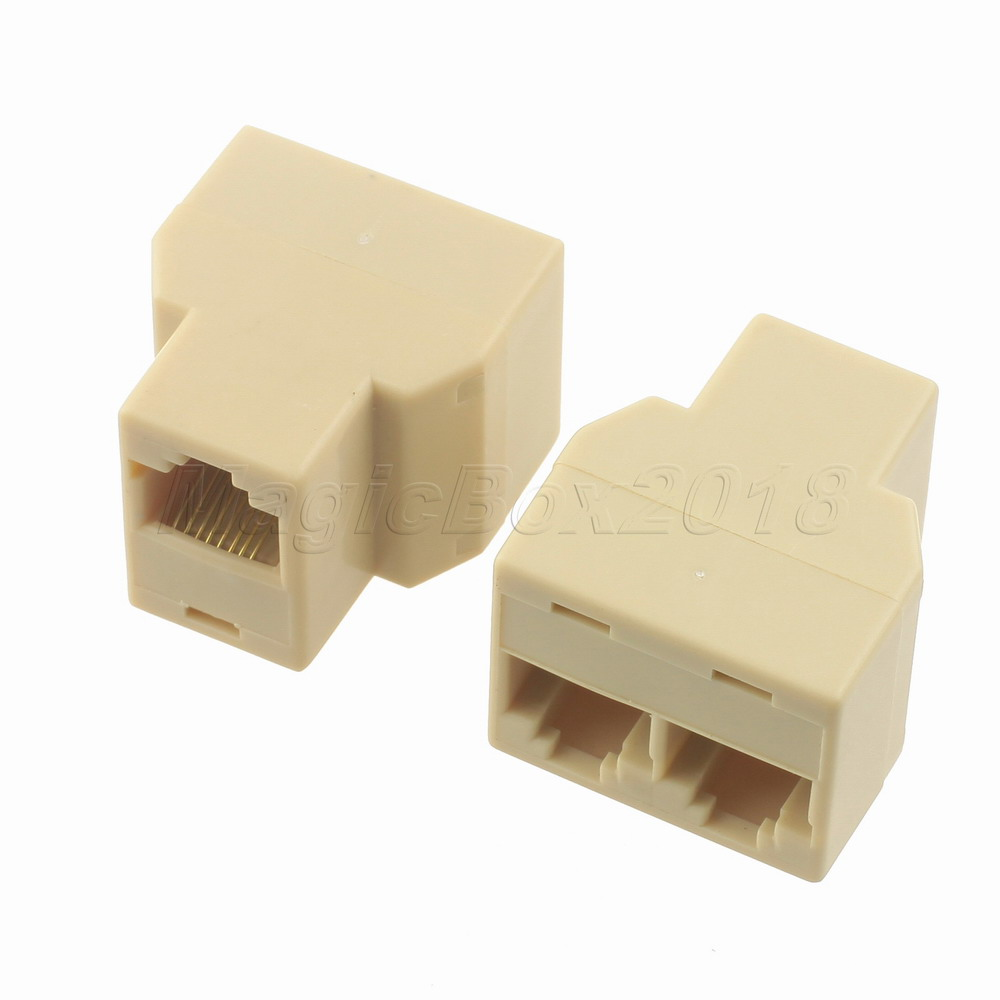 Wholesale Plastic 1 to 2 ADSL LAN Splitter Connector Adapter Cable For Computer PC Telephone Jacks Free Shipping(China (Mainland))