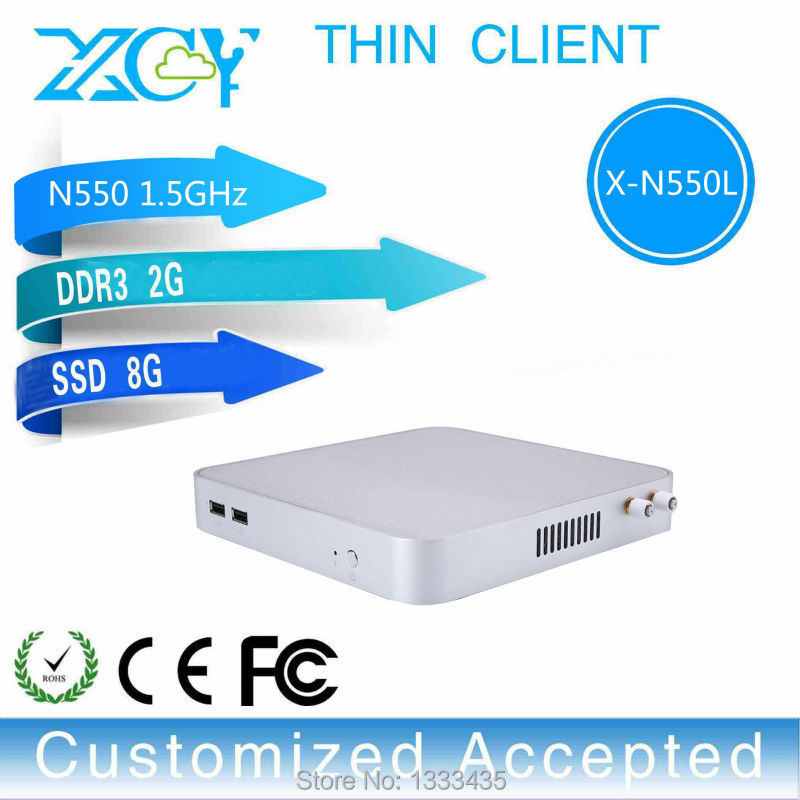 Highest Cost Effective Intel N550 2gb Ram 8gb Ssd Fanless Industrial Pc Embedded Thin Client Support Linux OS Ubuntu(China (Mainland))