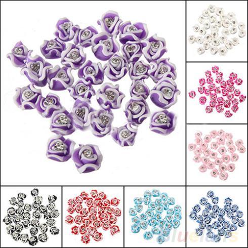 30Pcs Fashion Ceramic Rubber Rhinestone Rose Flower nail sticker Color Nail Art 3D Decoration Nail tools 06T2(China (Mainland))