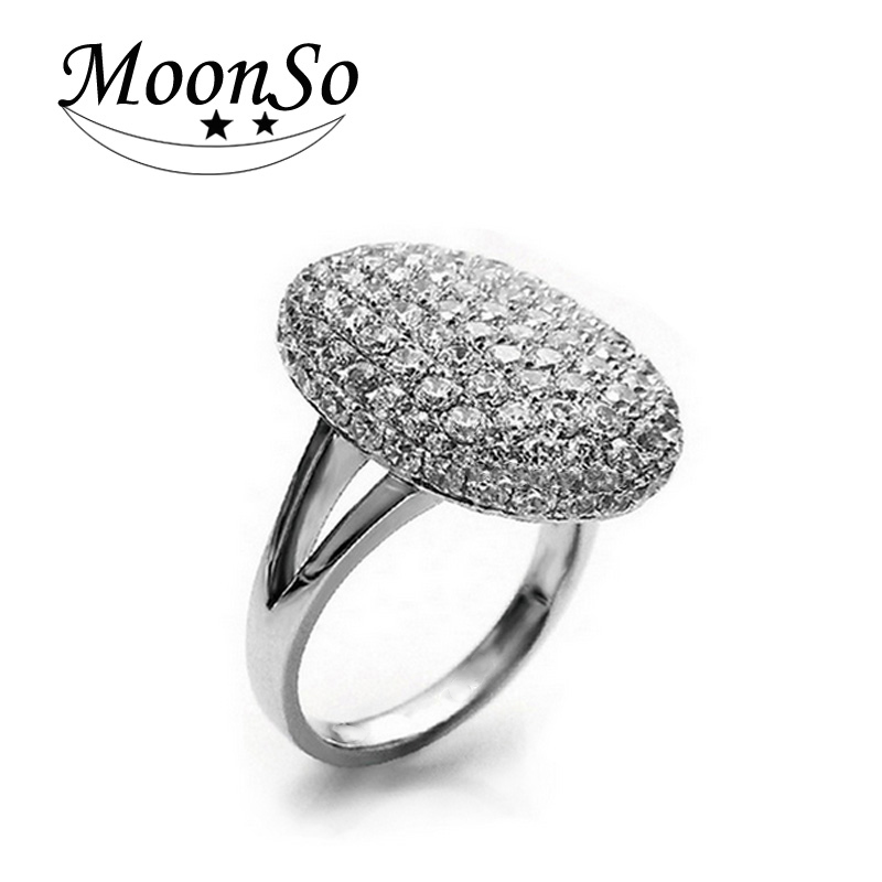 Moonso Silver Plated Wedding Engagement Rings for Women O anel brand wholesale Hot Sale 88 CZ Diamonds T0103 anillos(China (Mainland))