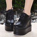 13CM 2016 Autumn Winter New Platform Wedge Ankle Booties Lace Up Black White Ladies High Heeled