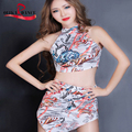 Printing cone skirt DJ Sexy performance suit Disco three piece suit Modern performance dress