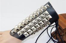 New design Punk nightclub club party black leather Arm sleeve warmer for men and woman (China (Mainland))