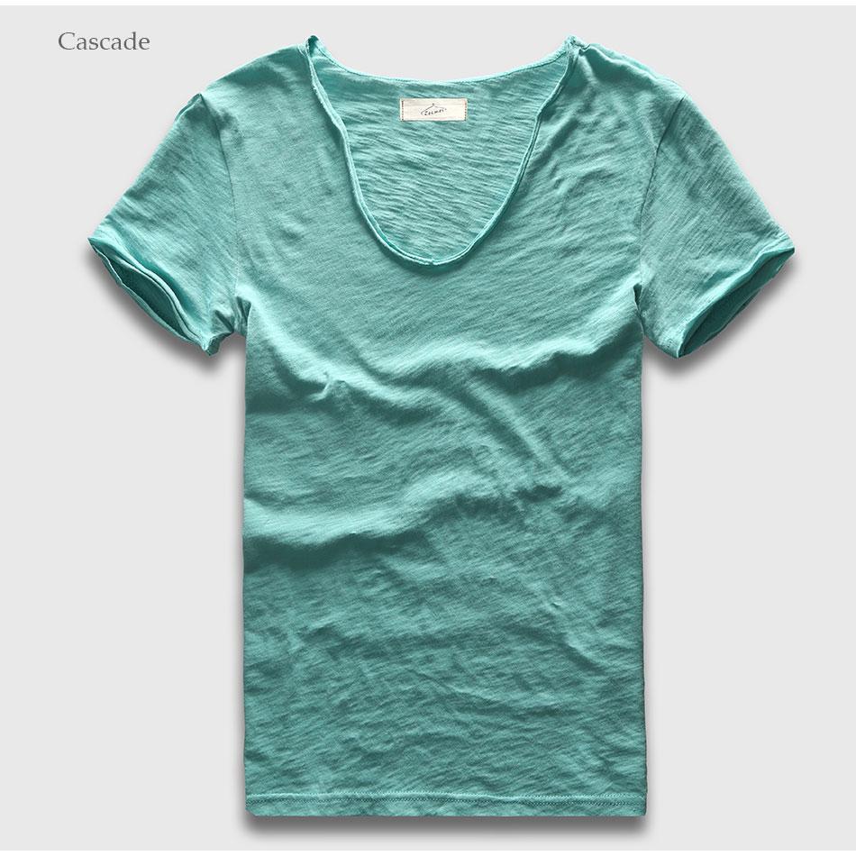 HTB1mhoZPXXXXXa2XpXXq6xXFXXXg - Men Basic T-Shirt Solid Cotton V Neck Slim Fit Male Fashion T Shirts Short Sleeve Top Tees 2017 Brand