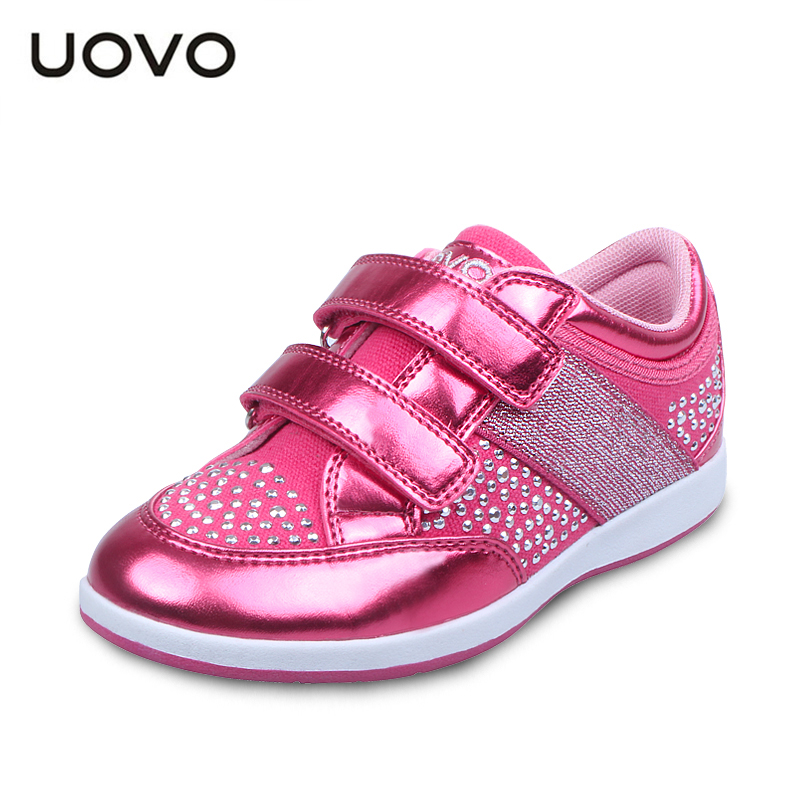 UOVO 2016 Kids Shoes Casual Sneakers Girls shoes  Rhinestone Running sport shoes Breathable Children shoes PU leather