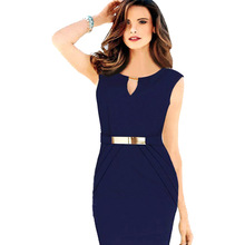 Women Formal Bodycon Dress Office Wear Work Pencil Dress Sleeveless Waistband Dress Female De Robe Size S-4XL