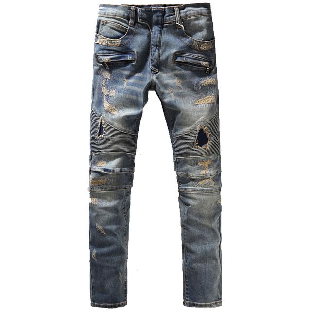 Мужская мода старинные отверстие разорвал байкер джинсы мужской свободного покроя ...