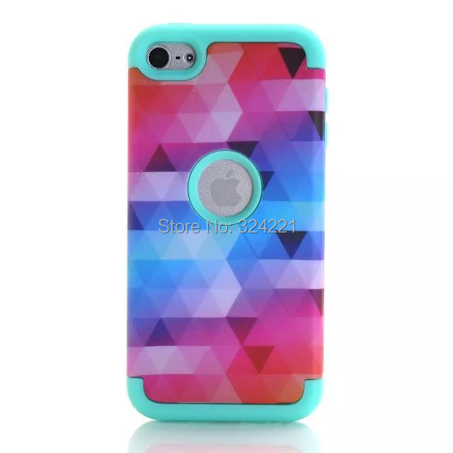 New Patchwork Mosaics Pattern 3 in 1 Shockproof PC Silicone Armor Robot Hybrid Heavy Duty Phone case cover for Ipod Touch 6