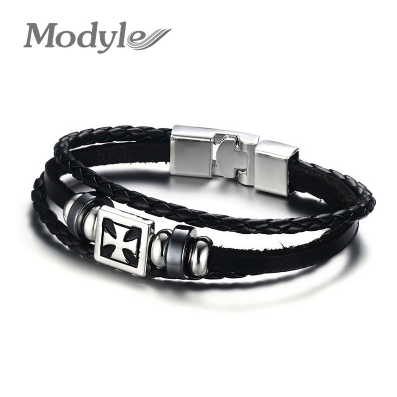 Modyle 2016 NEW Fashion Pirate Style Jewelry Genuine Cow Leather Cross Infinity Bracelets Bangles For Men Best Friends Gifts(China (Mainland))