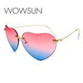 WOWSUN New Vintage Heart Shaped Fashion Sunglasses Women Luxury Brand Alloy Summer Trendy Sunglasses UV400 A723