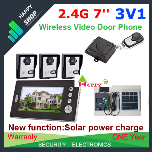 "Free ship 3V1 Solar power charger Wireless 7""  video door phone intercom system+ remote control EMS&DHL/FedEx free shipping"