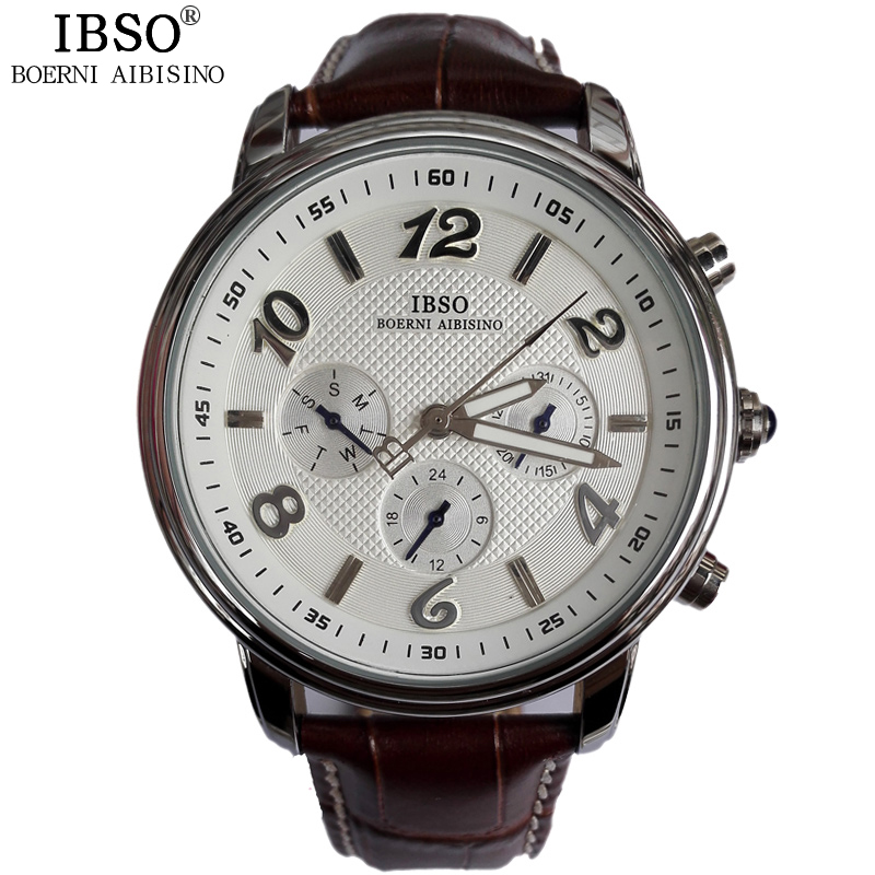 IBSO Men Quartz Watch Business New With Tags Leather Band Relogios Masculinos Shock Resistant Fashion Hardlex Men Watches