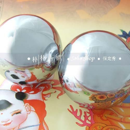 Solid 73mm baoding iron ball chrome,super palm exercise stress relief balls.Health supplements.No box.Optional weight available.(China (Mainland))