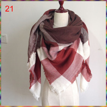 140x140cm Za winter acrylic cashmere tartan plaid scarf brand blanket shawl designer pashmina wrap stole for Lady Women Girl(China (Mainland))