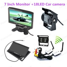 2 AV input connect to 7 Inch TFT LCD Colo Car Rear View Monitor for car parking wireless 18 LED rearviwe camera(China (Mainland))