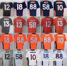 Men 12 Paxton Lynch Jersey 18 Peyton Manning 88 Demaryius Thomas 58 Von Miller Jerseys 13 Trevor Siemian 10 Emmanuel Sander Blue(China (Mainland))